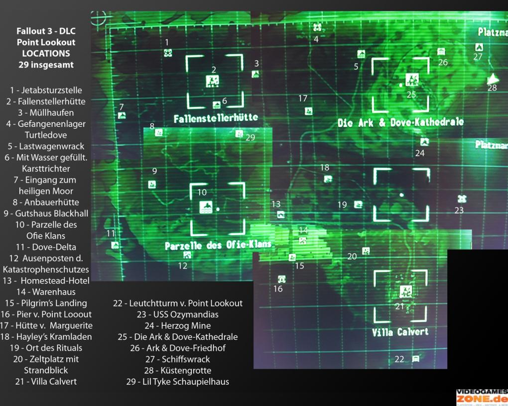 Fallout 3 Point Lookout: Karte inklusive aller Locations in ...