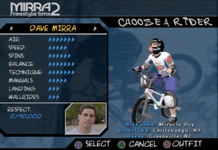 Dave Mirra Freestyle BMX 2 - Cheats