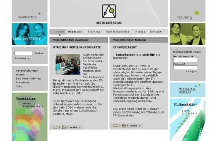 Die Mediadesign-Website.