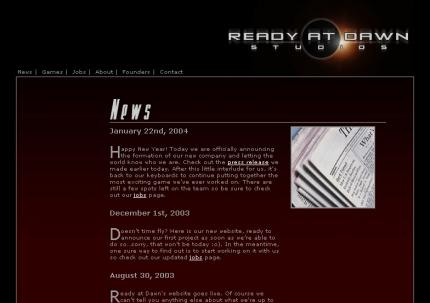 Die Website der Ready-at-Dawn-Studios