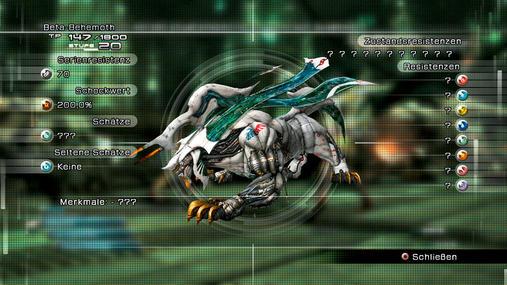 Beta-Behemoth: Dieser zähe Brocken flößt einem zwar Respekt ein, der Kampf gegen ihn gestaltet sich dafür einfach. Prügelt stur auf ihn ein, bis er umfällt. Dank Lebreaus Heiltränken kann euch hier nichts passieren. STÄRKEN: Viele HP, starke Attacken - Schwächen: Keine