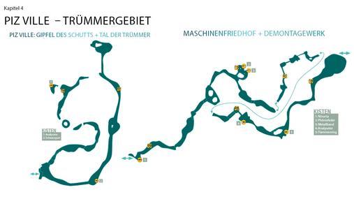 Kapitel 4: Piz Ville - Trümmergebiet: Piz Ville: Gipfel des Schutts + Tal der Trümmer + Maschinenfriedhof + Demontagewerk