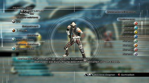 PSIKOM-Jäger: Der Jäger ähnelt dem Sicherheitsgardisten, nur dass er eine punktuelle Waffe nutzt. Zudem verfügt er über die Möglichkeit, euch zu verfluchen, was euch beim Agieren stören kann. STÄRKEN: Beherrscht Fluch - SCHWÄCHEN: Keine Zustandsresistenzen, wenig Leben