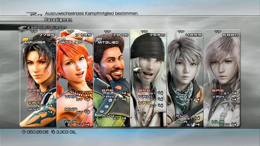 Final Fantasy 13-Teamaufstellung: Allroundbegabt - Unser absoluter Favorit unter den Teamaufstellungen. Mit Fang, Vanille und Sazh seid ihr unglaublich anpassungsfähig und könnt jedes gute Paradigma bilden. Besonders klasse ist, dass ihr beide Manipulatoren und den offensiven Augmentor beisammen habt. Somit lassen sich Kämpfe fatal beschleunigen, da Sazh eure Angriffsfähigkeiten deutlich verbessert und die zwei Mädels die Feindabwehr kräftig senken. Das Verhältnis von Brechern und Verheerern ist angenehm ausgewogen und selbst eine gute Abwehrstellung ist ohne Weiteres möglich. Wählt entweder Fang oder Sazh als Anführer, beide eignen sich gut. Fang blockt als Verteidiger beinahe alles weg und Sazh besitzt ein solides Lebenspunkte-Polster.
