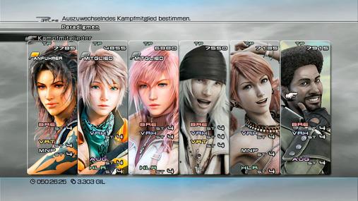 Final Fantasy 13-Teamaufstellung: Schaden über alles - In dieser Teamzusammenstellung habt ihr die drei besten Schadensverteiler des Spiels auf einem Fleck. Hope und Lightning können in Verheerer-Form super Serien pushen, während Fang als Brecherin drauf kloppt. Der daraus resultierende Schaden ist enorm und stellt alles andere in den Schatten. Gleichzeitig verfügt ihr sogar über zwei Heiler und der Umstand, dass ihr alle sechs Klassen vertreten habt, macht euch wunderbar flexibel. Somit lassen sich für alle Situationen gute Paradigmen mixen und selbst eine sehr defensive Spielweise ist dank Fang als Verteidiger und Hope als Augmentor denkbar. Hier seid ihr zwingend auf Fang für die Führung angewiesen, da ihre beiden Kameraden noch weniger Lebenspunkte haben.