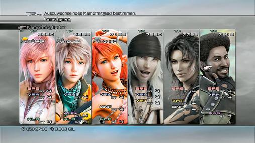 Final Fantasy 13-Teamaufstellung: Magische Momente - Mit Vanille, Hope und Lightning habt ihr die volle Packung Magie und Heilpower an Bord. Mehr magischen Schaden könnt ihr nicht austeilen, vor allem wenn ihr zunächst mit Vanilles Manipulationen die magische Abwehr eurer Opfer schwächt. In dieser Aufstellung fehlt euch zwar ein Verteidiger, doch mit Hopes defensiven Augmentor-Zaubern schafft ihr euch Abhilfe. Diese Kombination mag nicht perfekt sein, eignet sich aber trotzdem ganz gut für normale Kämpfe und nicht so mächtige Bosse. Mit Lightning als Brecher und den beiden Verheerern schockt es sich schließlich super. Richtig doof hingegen: Euer Team besteht aus den drei Charakteren mit den wenigsten Lebenspunkten, daher habt ihr in jedem Fall einen anfälligen Anführer.