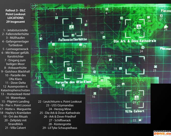 Fallout 3: Point Lookout Map mit allen Locations