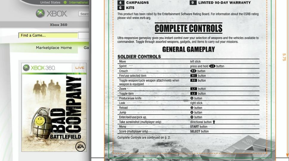 PlayStation 3 Handbuch für die Games On Demand Version von Battlefield: Bad Company auf Xbox 360.