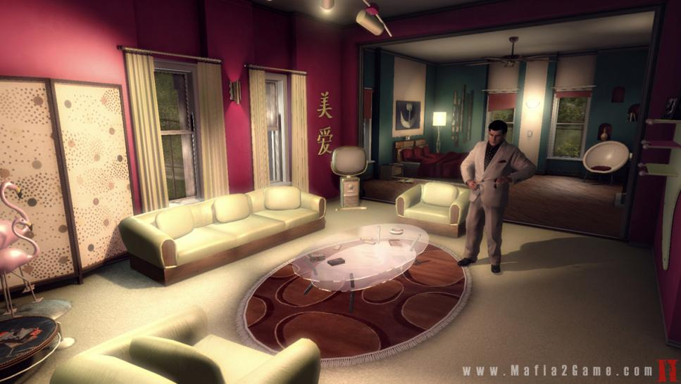 Mafia 2-Screenshot zeigt Joe's Apartment in den späten 1950ern.