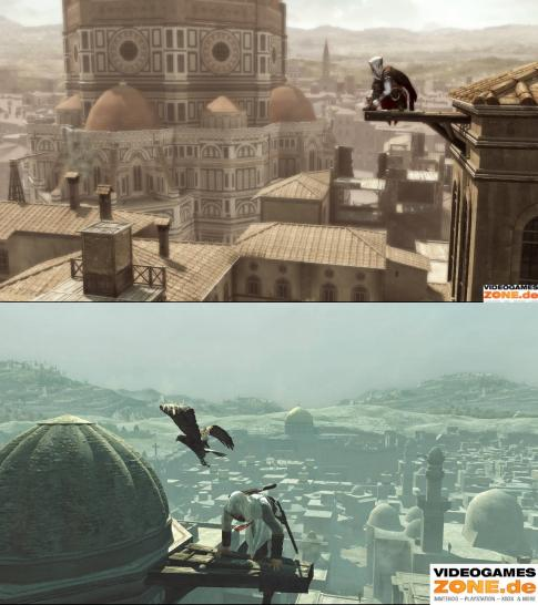 Assassin's Creed 2 (upper screen) vs. Assassin's Creed (lower screen) - Grafik Duell