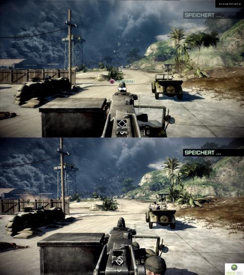 Bad company 2 grafik vergleich zwischen ps3 und xbox 360 version