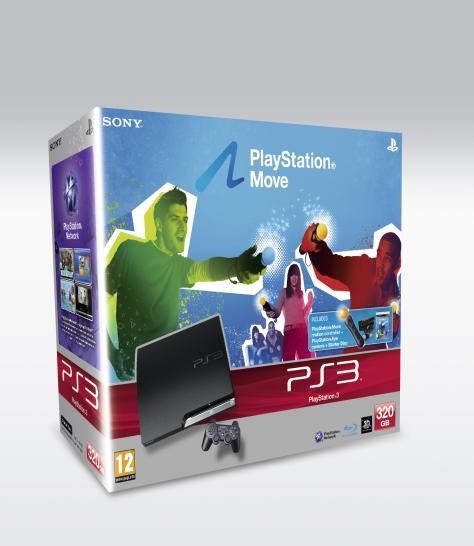 PS3-Move Bundle inkl. 320GB Festplatte - PS3, PS-Move, PS-Eye, Starter-Disk