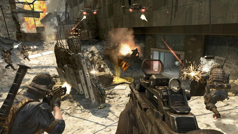"Call of Duty: Black Ops 2 - die Map Aftermath mit ""Drone Guards""."