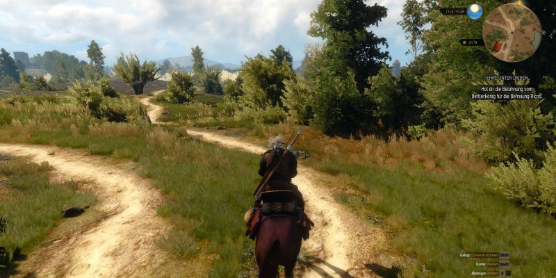 The Witcher 3: Ritt durch die Spielwelt im Video.