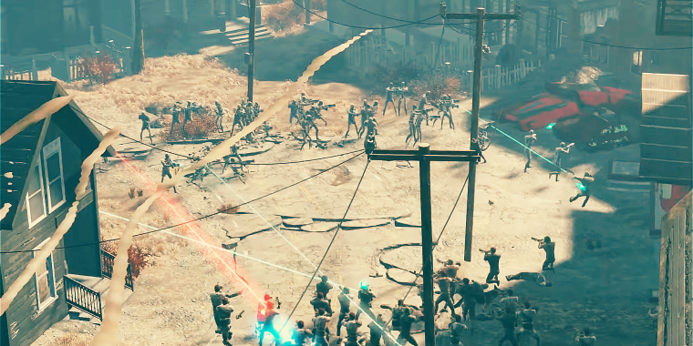 Massenschlacht in Fallout 4: Raiders vs. Synth-Androiden.