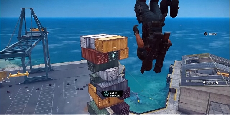 Jenga mit Schiffscontainern: Just Cause 3-Edition.