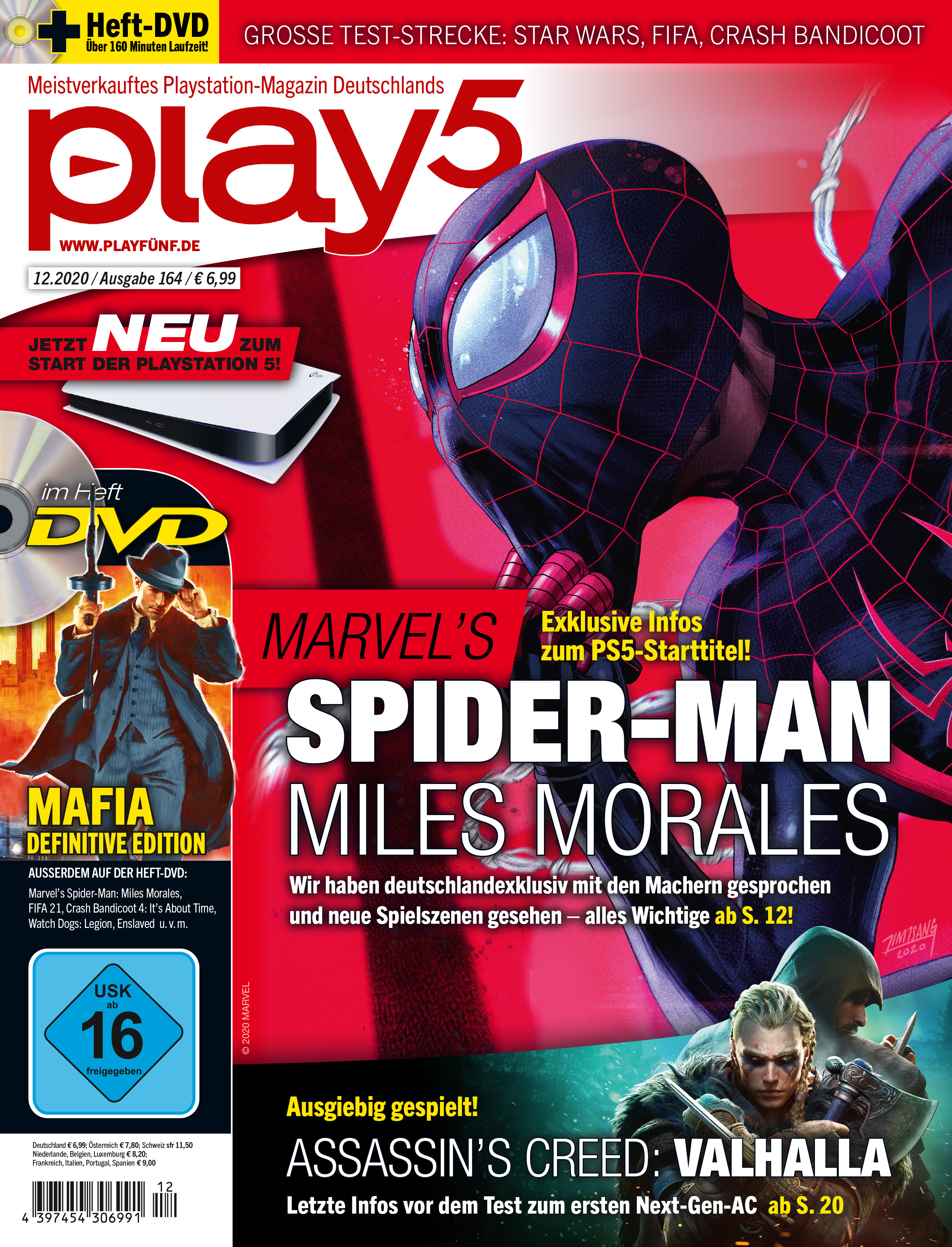 play5 12/20 with cover story about Spider-Man: Miles Morales u. v. m.