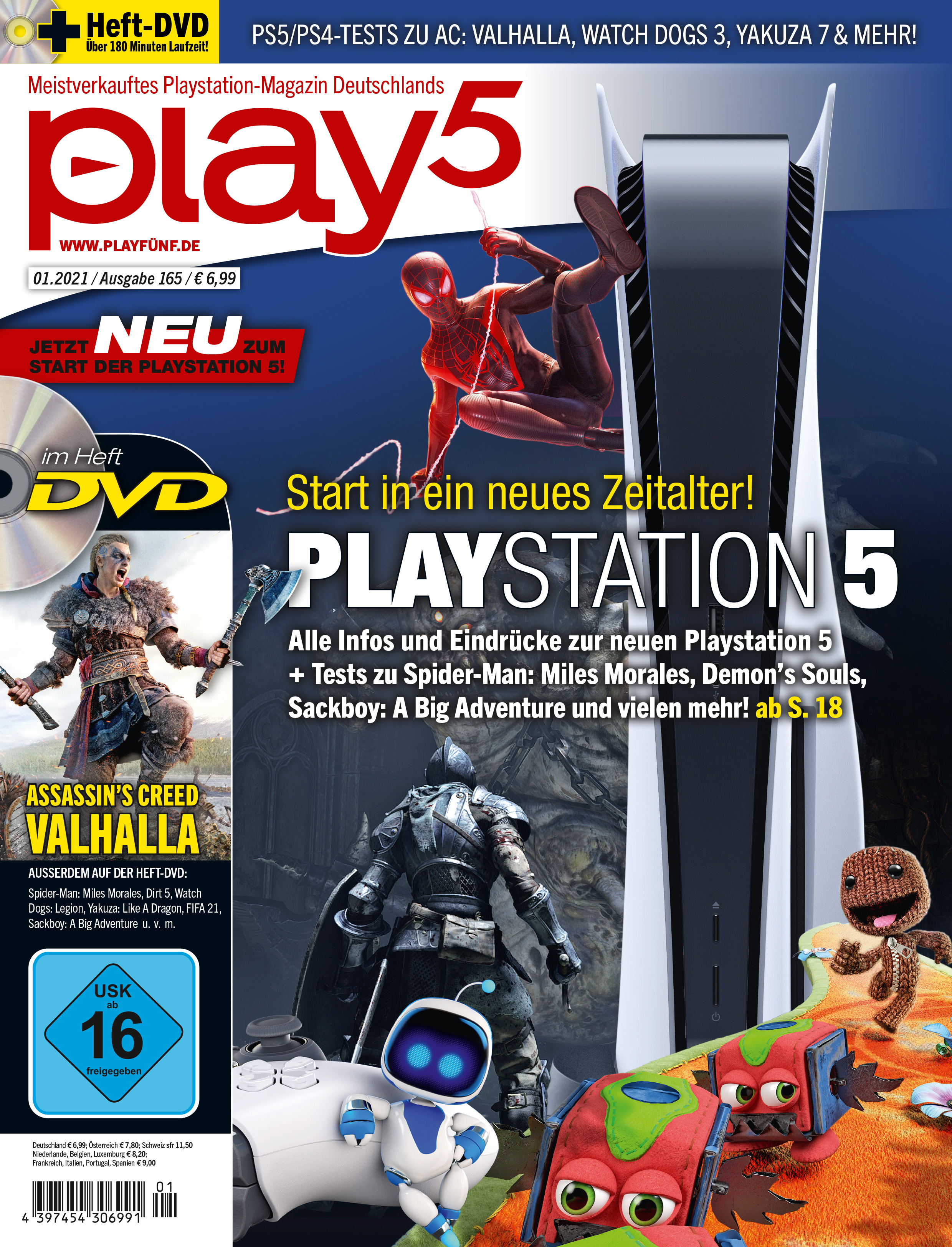 play5 01/21 with title story about the launch of the Playstation 5 u. v. m.