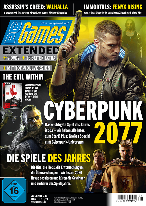 PC Games 01/21 with cover story about Cyberpunk 2077 a. v. m.