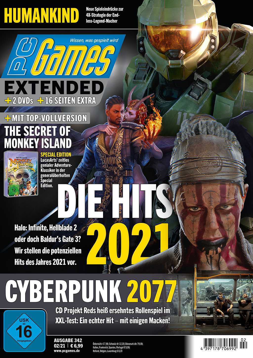 PC Games 02/21 with cover story about the hits in 2021