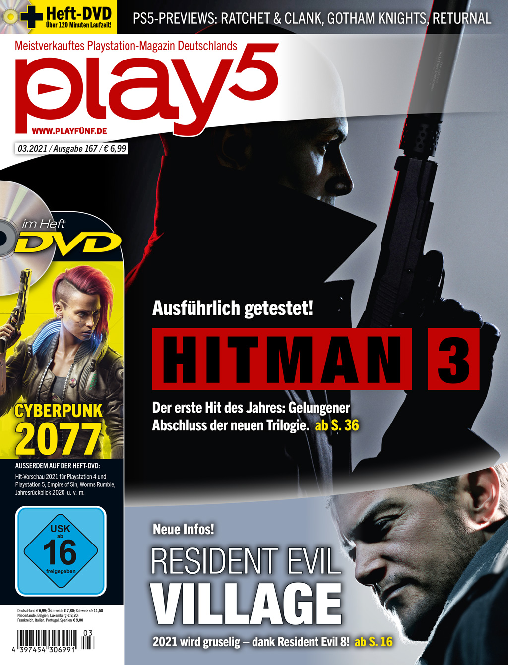 play5 03/21 with test of Hitman 3, preview of Resident Evil: Village