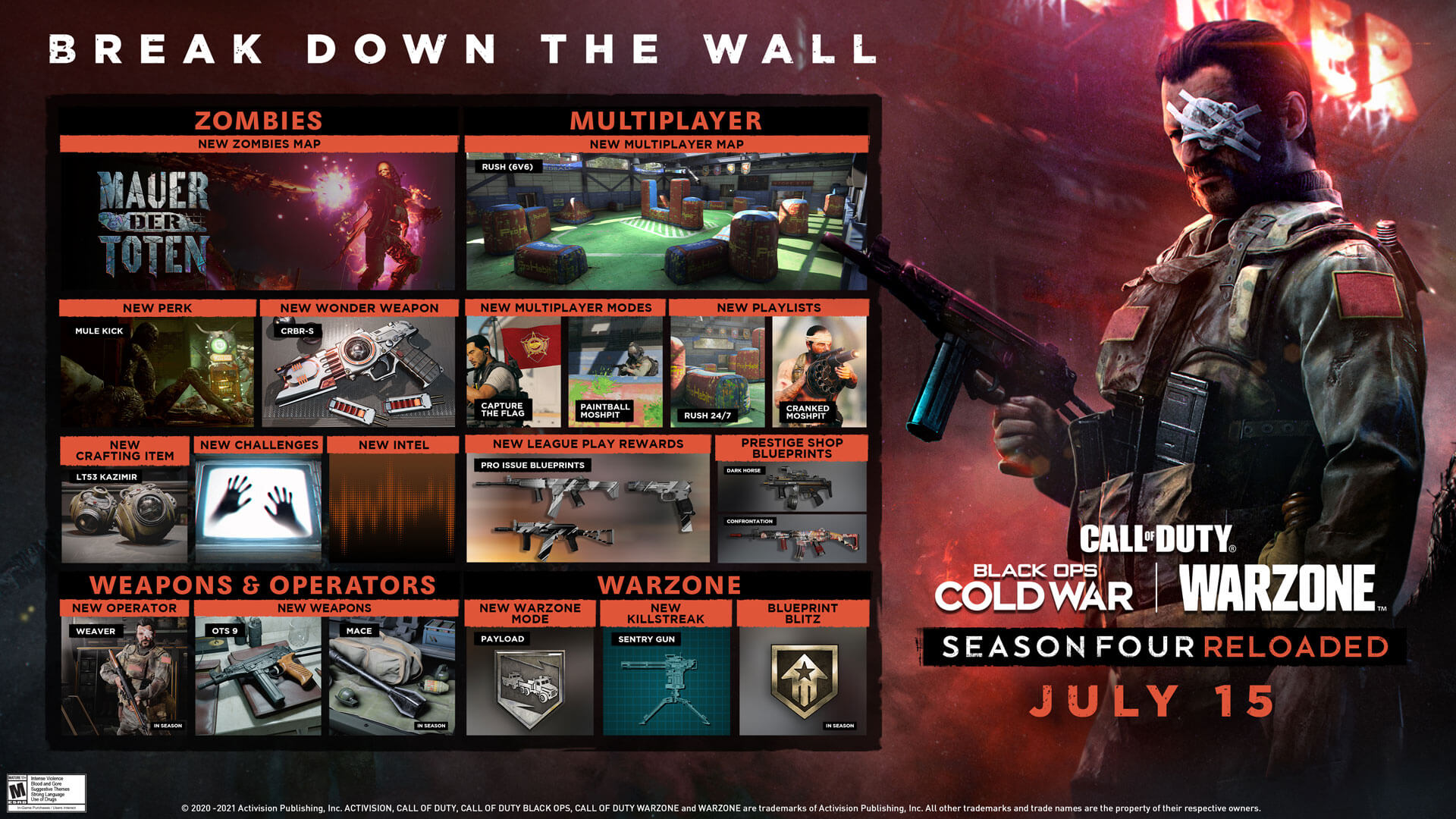Call of Duty Black Ops Cold War & Warzone: Roadmap for Season 4 Reloaded - that's in the update