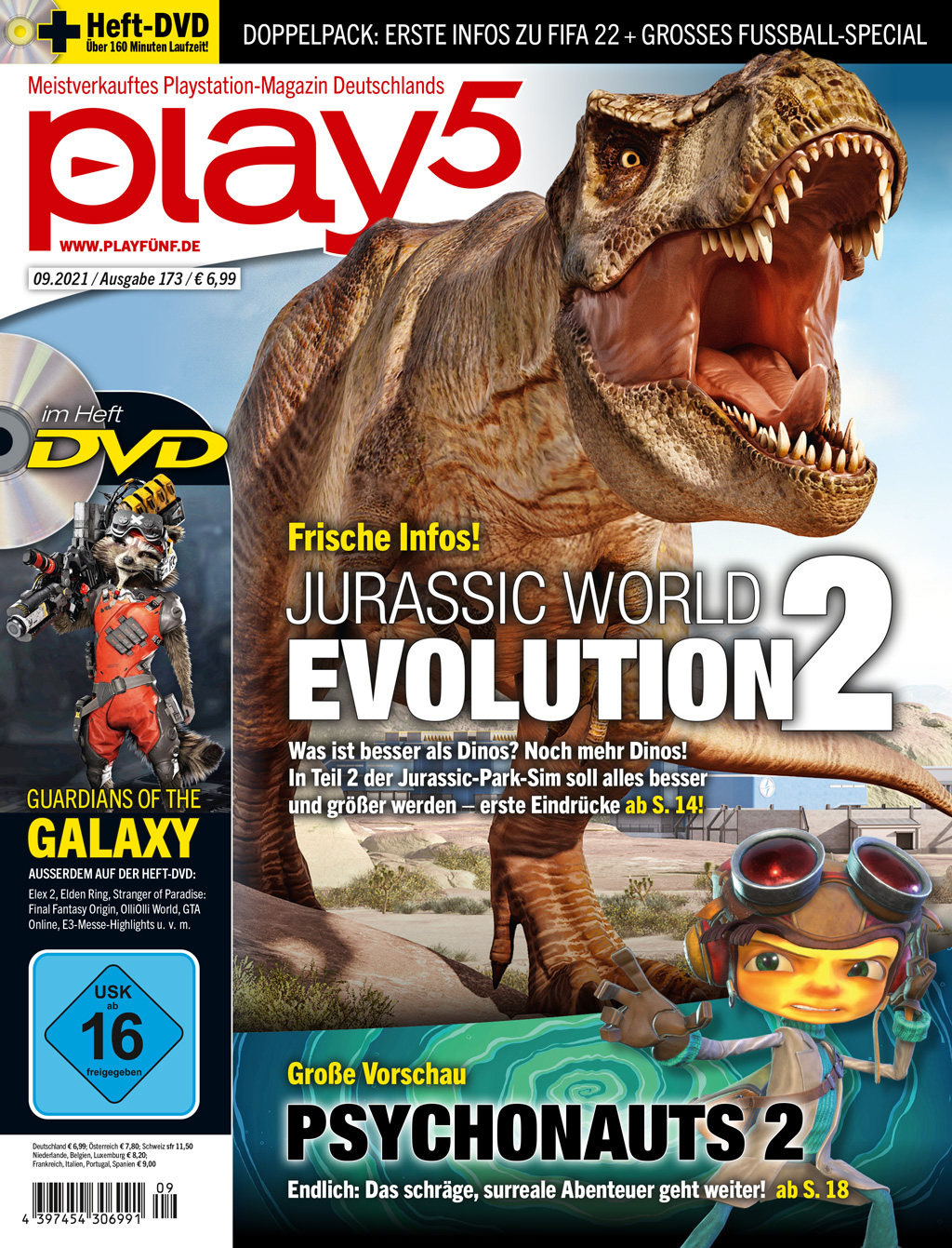 play5 09/21 with cover story for Jurassic World: Evolution 2, preview for Psychonauts 2 and FIFA 22